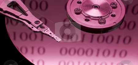Harddisk stock photo, Open hard disk with binary code reflection by P?