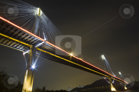 Bridge stock photo, It is beautiful night scenes of Bridge in Hong Kong. by Keng po Leung