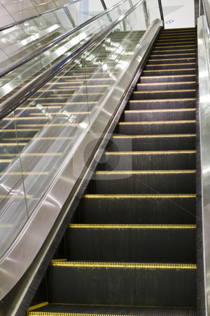 Escalator stock photo, It is a close up with escalator in a building. by Keng po Leung