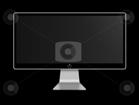 Screen stock photo, Black and white wide screen on black background by Henrik Lehnerer