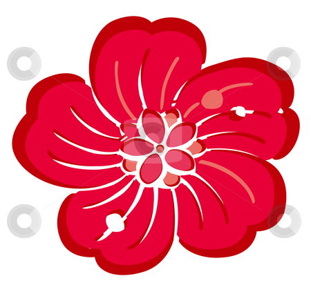 Red flower stock photo, Drawing of red flower in a white background by Su Li