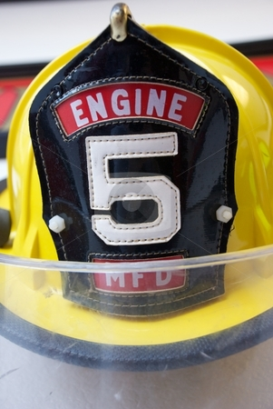 Yellow Fireman's Hat stock photo, Yellow Fireman's Hat with Number 5 on the Front by Shane Morris