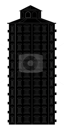 Black building silhouette stock photo, Drawing of black building in a white background by Su Li