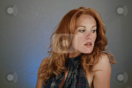 Beautiful Redhead, Headshot (14) stock photo, A lovely redhead model by Carl Stewart