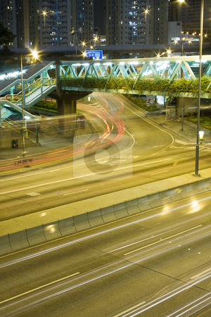 Traffic night stock photo, It is Hong Kong traffic in front of  public housing apartment block by Keng po Leung