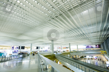 Airport stock photo, China; Hong Kong international airport main hall by Keng po Leung