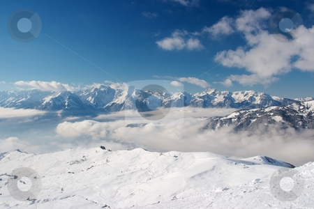 Mountains stock photo, Snowy high mountain range in the French Alps by P?