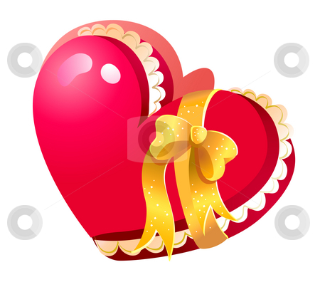 Heart shaped closed Jewelry Box stock photo, Closed red heart shaped jewelry gift box, valentine concept isolated with yellow bow on white background by Su Li