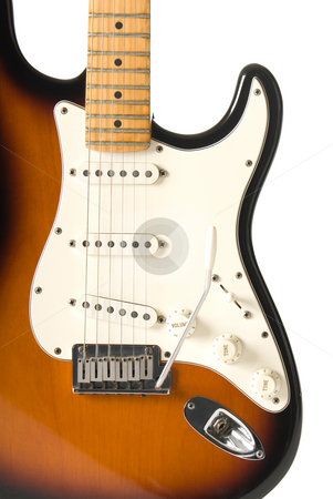 Guitar body isolated stock photo, Guitar body (Stratocaster) on white background. by Daniel Garcia Mata