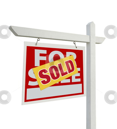 Sold For Sale Real Estate Sign Isolated - Left stock photo, Sold For Sale Real Estate Sign Isolated on a White Background with Clipping Paths - Facing Left. by Andy Dean