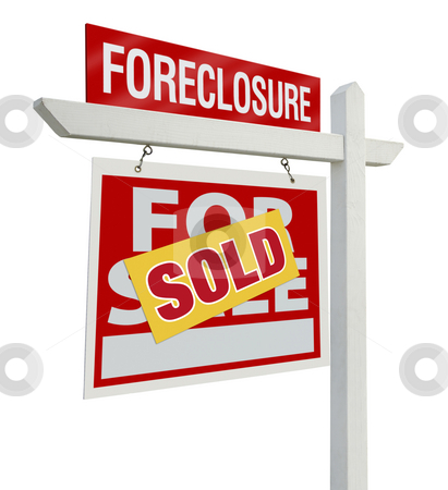Sold Foreclosure Real Estate Sign Isolated - Left stock photo, Sold Foreclosure Home For Sale Real Estate Sign Isolated on a White Background with Clipping Paths - Left Facing. by Andy Dean