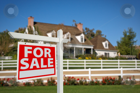 Home For Sale Real Estate Sign and House stock photo, Home For Sale Real Estate Sign in Front of New House. by Andy Dean