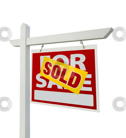 Sold For Sale Real Estate Sign Isolated - Right stock photo, Sold For Sale Real Estate Sign Isolated on a White Background with Clipping Paths - Facing Right. by Andy Dean