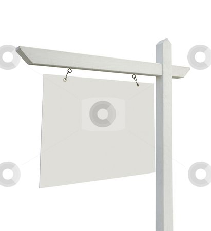 Blank Real Estate Sign on White stock photo, Blank Real Estate Sign Isolated on White with Clipping Paths. by Andy Dean