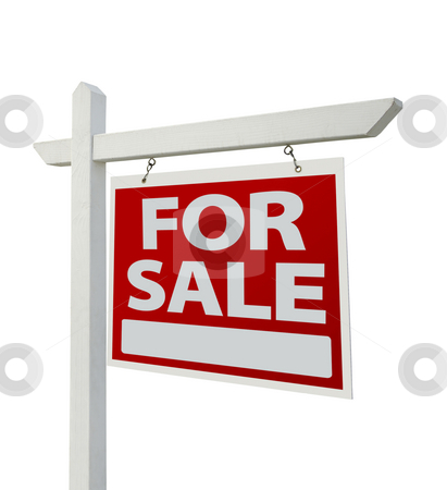 For Sale Real Estate Sign Isolated - Right stock photo, For Sale Real Estate Sign Isolated on a White Background with Clipping Paths - Facing Right. by Andy Dean