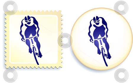 Cyclist Stamp and Button stock vector clipart, Cyclist Stamp and Button Original Vector Illustration by L Belomlinsky
