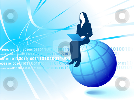 Businesswoman Riding the Internet stock vector clipart, Original Vector Illustration: businesswoman Riding the Internet AI8 compatible by L Belomlinsky