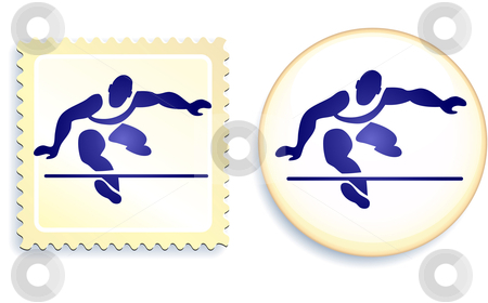 Runner Stamp and Button stock vector clipart, Runner Stamp and Button Original Vector Illustration by L Belomlinsky