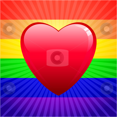 Heart on glowing Gay Pride background stock vector clipart,  by L Belomlinsky