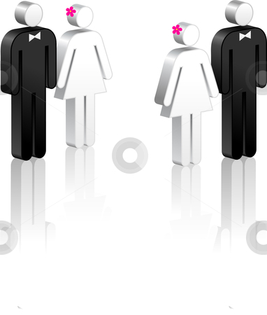 Stick Figure Couples stock vector clipart, Stick Figure Couples Original Vector Illustration Stick Figure Couples Ideal for Marriage Concept by L Belomlinsky