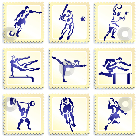 Sports Stamp Collection stock vector clipart, Sports Stamp Collection Original Vector Illustration by L Belomlinsky
