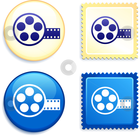Film Reel on Stamp and Button stock vector clipart, Film Reel on Stamp and Button Original Vector Illustration Buttons Collection by L Belomlinsky