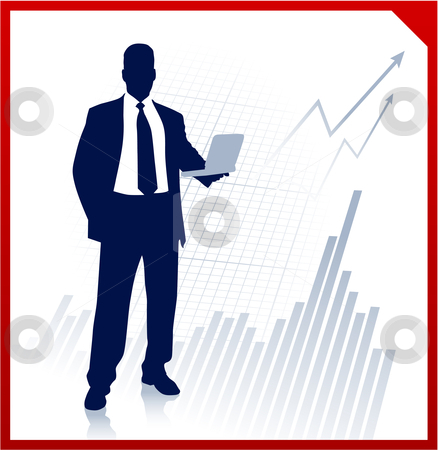 Businessman holding computer with Graph stock vector clipart, Businessman holding computer with Graph Original Vector Illustration Businessmen Concept by L Belomlinsky