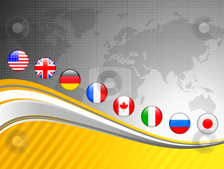 World Map with Internet Flag Buttons Background stock vector clipart, World Map with Internet Flag Buttons Background Original Vector Illustration by L Belomlinsky