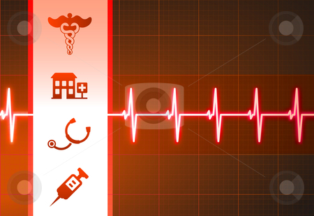 Medical Icons on Heart Rate Pulse Background stock vector clipart, Medical Icons on Heart Rate Pulse Background Original Vector Illustration by L Belomlinsky