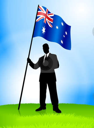 Businessman Leader Holding Australia stock vector clipart, Businessman Leader Holding Australia Original Vector Illustration AI8 Compatible by L Belomlinsky