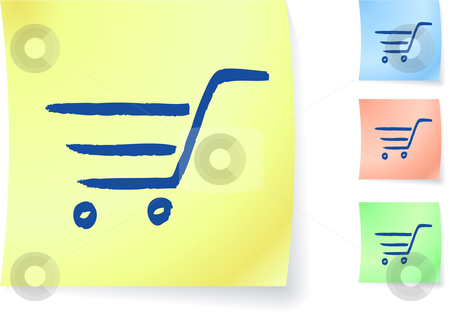 Shopping cart graphic on sticky note stock vector clipart, Shopping cart graphic on sticky note original vector illustration Post it note sketches  Three color version included by L Belomlinsky