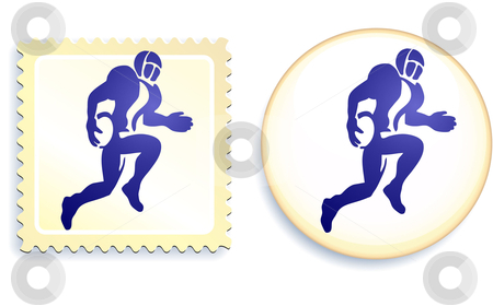 Football Stamp and Button stock vector clipart, Football Stamp and Button Original Vector Illustration by L Belomlinsky