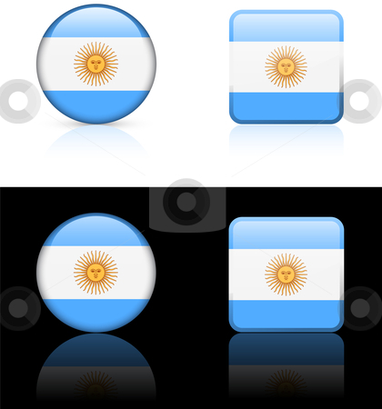 Argentina Flag Buttons on White and Black Background stock vector clipart, Argentina Flag Buttons on White and Black Background Original Vector Illustration AI8 Compatible by L Belomlinsky