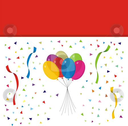 Party balloons stock photo, An illustration of party balloons and confetti - can be used as a birthday card background by Mihai Zaharia