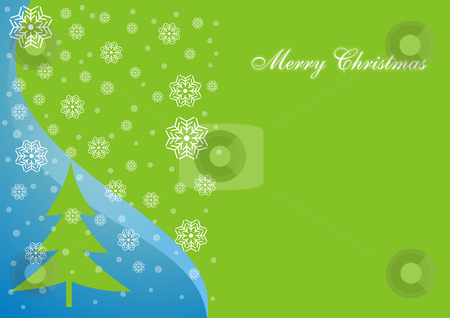 Christmas card stock photo, A Christmas card background with a tree and snow flakes by Mihai Zaharia
