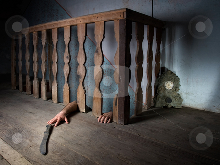 Basement fear stock photo, Basement often be the place of horrible crimes in many criminal stories. by Sinisa Botas