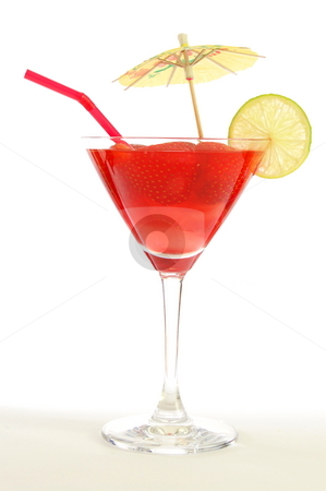 Cocktail stock photo, Red strawberry cocktail party drink isolated on white background by Gunnar Pippel