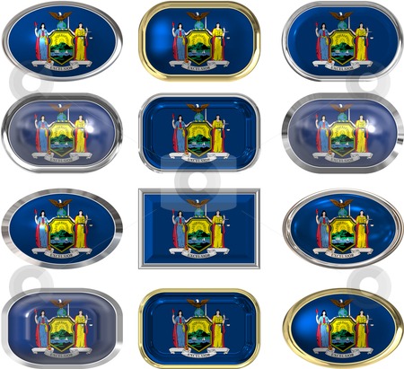 12 buttons of the Flag of New York stock vector clipart, Twelve Great buttons of the Flag of New York by Phil Morley