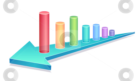 Business chart with blue arrow stock photo, A color graphics chart over a blue arrow by Su Li