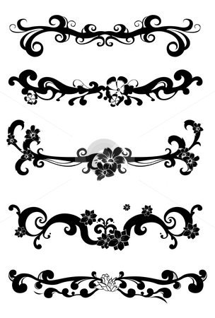 Black flower pattern stock photo, Black flower pattern on a white background by Su Li
