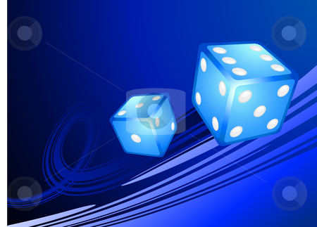 Blue Dice on Internet Background stock vector clipart, Blue Dice on Internet Background Original Vector Illustration Dice Ideal for Game Concept by L Belomlinsky