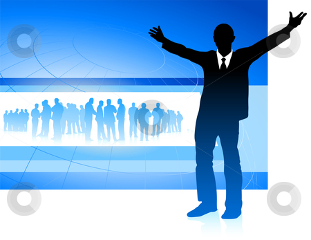 Excited businessman on blue internet background stock vector clipart, Original Vector Illustration: excited businessman on blue internet background AI8 compatible by L Belomlinsky