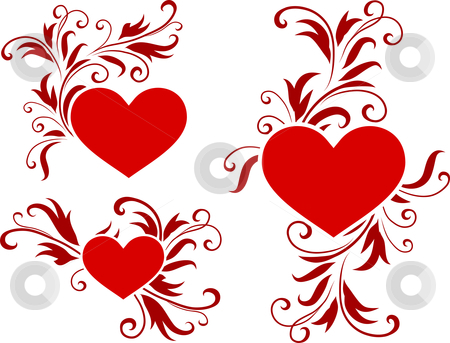Romantic hearts Valentine's Day design background stock vector clipart,  by L Belomlinsky