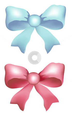 Bow stock photo, Red bow and blue bow on the white background by Su Li