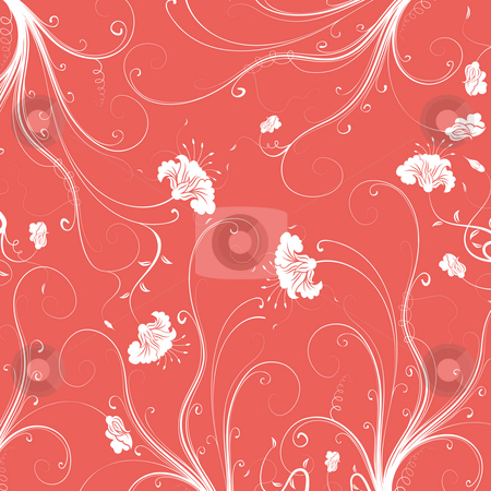 Seamless flower damask pattern stock photo, Illustration drawing of beautiful flower seamless pattern by Su Li