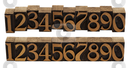 Wood numbers - vintage letterpress blocks stock photo, Ten arabic numerals 0-9 in vintage wood letterpress blocks stained by black ink,, flipped horizontally, two compositions, isolated on white by Marek Uliasz