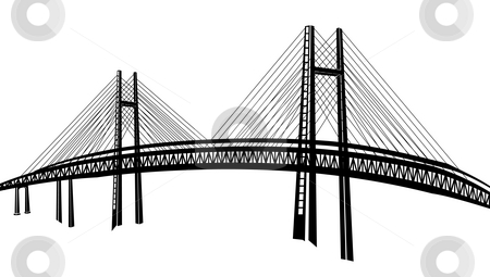 Bridge stock photo, Drawing of bridge in a white background by Su Li