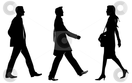 Business human silhouette stock photo, Drawing of business human silhouette in a white background by Su Li