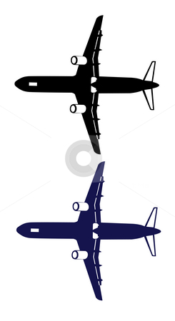 Airplane stock photo, Drawing of airplane in a white background by Su Li