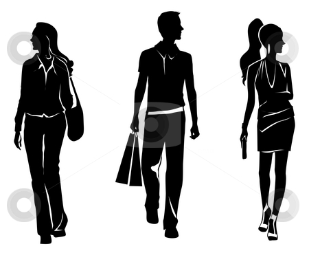 Human shopping silhouette stock photo, Drawing of human shopping silhouette in a white background by Su Li